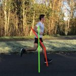 Runner with gait analysis feedback overlaid