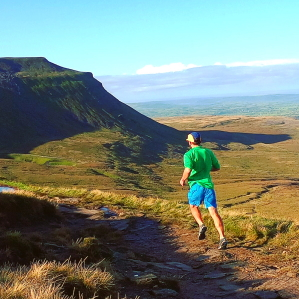 Rowan running on Ingleborough